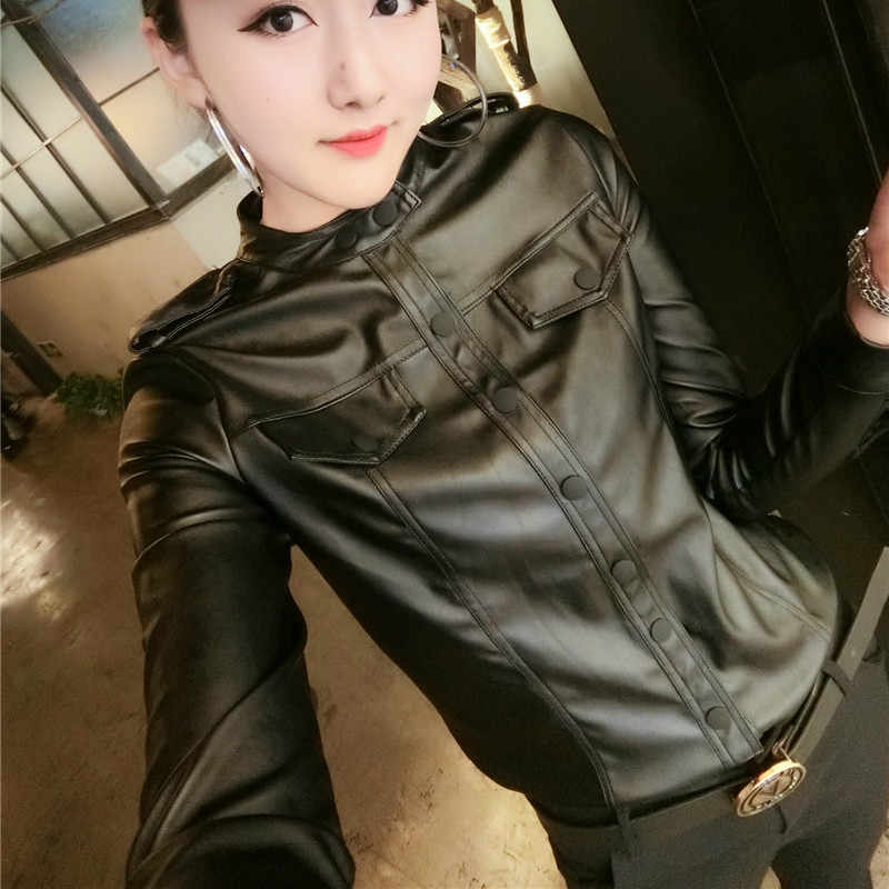 2018 Autumn Long Sleeve Turn Down Collar Pu Leather Shirts Women Fake Leather Tops Lady Long Sleeve Black PU Shirts Lady PU Tops