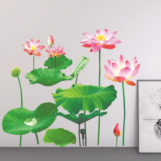 Aliexpresscom Buy Newest 3d Simulation Lotus Flowers Wall