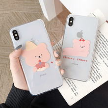 Red cherry cute bear transparent case for coque iphone 6 6s 8 7 plus x xs xr xsmax clear Cookie soft cover cases