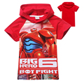 Wholesale-Big Hero 6 Hoodies Short Sleeve Hooded Jumper Cartoon Hoodies Outerwear Kids Clothing 2 colors red/blue 5p/l