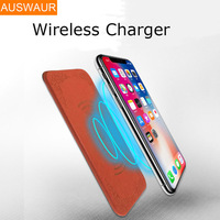 For Samsung Galaxy S8 Plus S6 S7 Note 8 IPhone X 8 QI Wireless Charger Leather