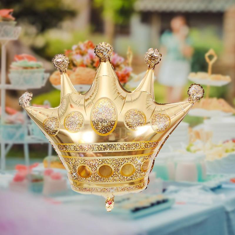 Big Gold Crown Balloons Wedding Happy Birthday Large Foil Balloons Princess King Party Decoration Favor Gold Beer Ballons