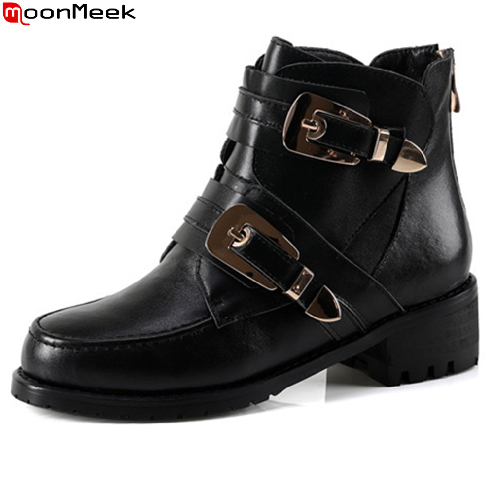 MoonMeek fashion women boots black genuine leather round toe zipper ladies boots buckle autumn winter cow leather ankle boots цена 2017
