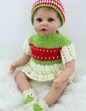 22inch Realistic Toddler Girl Doll in Crochet Outfit Reborn Baby Alive Stuffed Body Kids Fake Playmate Toys