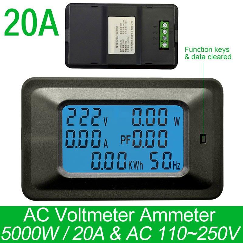 AC220V 20A Digital Voltage Meter Energiezähler LCD 5kw Voltmeter Amperemeter Aktuelle Amps watt meter tester detector anzeige