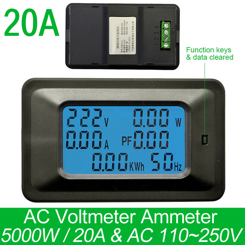 Watt Meter For Speakers: AC220V 20A Digital Voltage Meter Energy Meter LCD 5KW