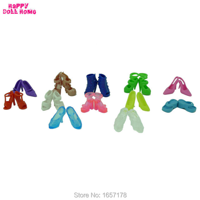 12 Pairs Mixed Fashion Colorful High Heels Sandals Accessories For Barbie Doll Shoes Clothes Dress Prop Girl Baby Best Gift Toys 3