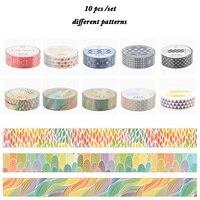 10Pcs/Set Different Patterns Basic Design Decorative Tape Masking Tape Student Sticker Scrapbooking Washi Tape Paper