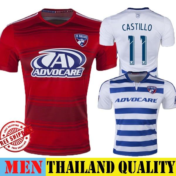 b7605b064 New FC Dallas Soccer Jersey 2015 Home Red Dallas Burn Jersey 15 16 Away  White 11 CASTILLO Football Shirt MLS Training Uniform