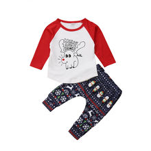 Baby Clothes Toddler Boy Kids Girl Christmas Clothes Long Sleeve Deer T-Shirt Tops Snowman Pants Outfits Cotton Set 2019 2019 цена