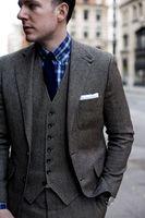 2018 последние конструкции пальто брюки серый Твид пользовательские Костюмы для Для мужчин Жених комплект из 3 предметов Однобортный Slim Fit Ку