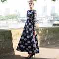 2016 S-XXXL Autumn Vintag Polka Dot Maxi Dress Long Sleeve Shahes Neck Pleated Long Party Dresses Plu Size XXL