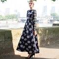 2016 s-xxxl otoño vintag lunares maxi dress de manga larga shahes cuello plisado largo vestidos de fiesta tamaño plu xxl