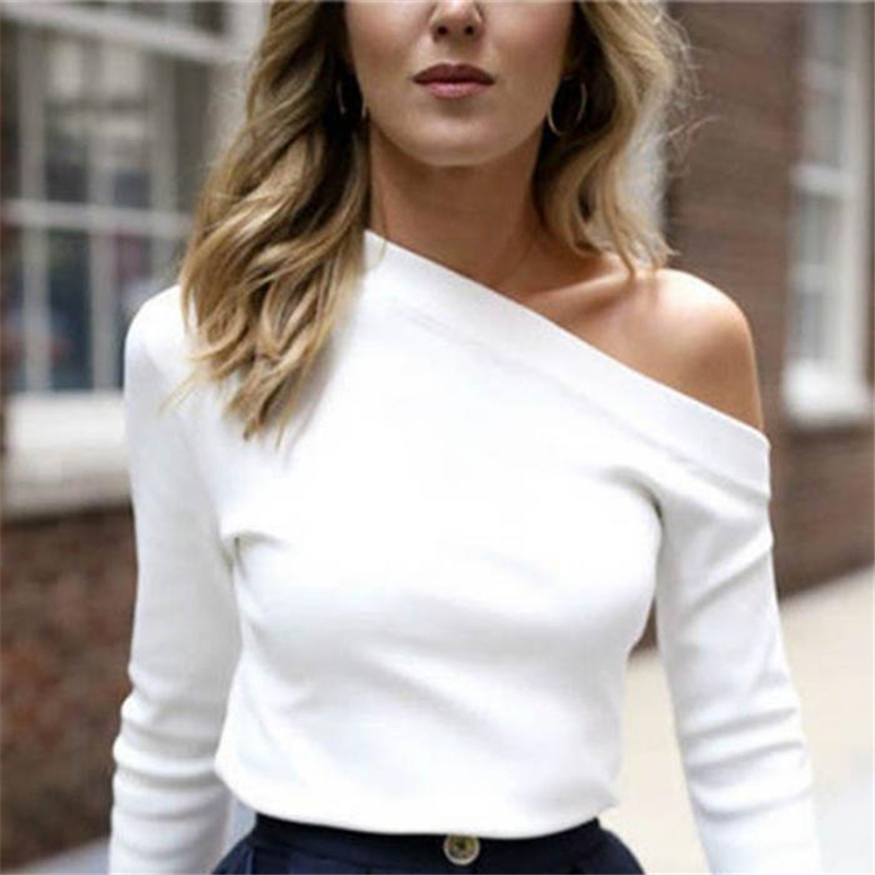 Autumn Winter Women Split Long Sleeve One Shoulder Solid Color Tops Lady Casual   T     Shirts   IK88