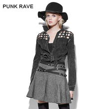 PUNK RAVE new products spring female backless roll sleeve hollow-out coat women shirt casual blouse