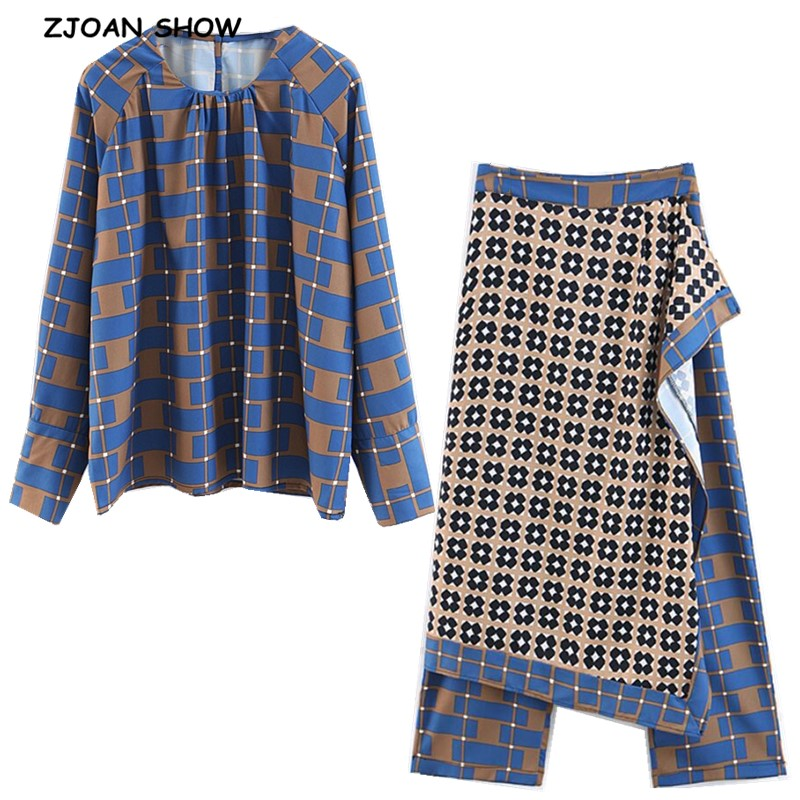 2019 New Spring Blue Geometric Plaid Print Shirt High Waist Wide Leg Pants Women Long Sleeve Pullover Blouse Tops 2 Pieces Set