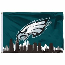 Philadelphia Eagles Com Philadelphia Skyline Da Cidade 3ft X 5ft Polyester  NFL Philadelphia Eagles Bandeira Bandeira do Vôo Tama. 73eb90f14e6