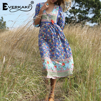 af67250d3c940c Everkaki Boho Floral Print Dress Women Gypsy V Neck Tassels Neck Tied  Buttons Long Bohemian Dresses. Bekijk Aanbieding. WSYORE Witte Jurken  Vrouwen 2018 ...