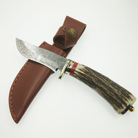 100 Damascus Steel Knife Blade Hunting Knife Antlers Horn Handle Handmade Damascus Forged Steel Straight Knife