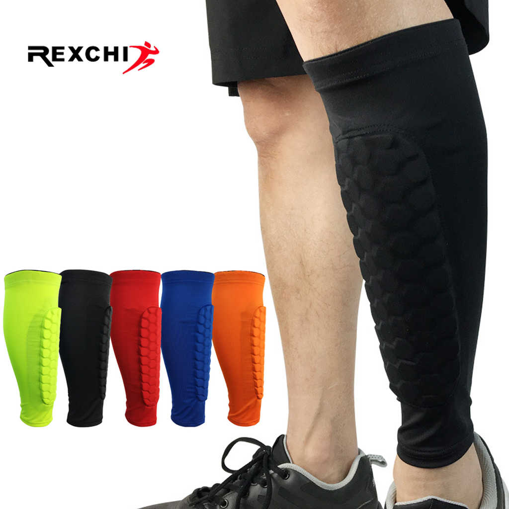 REXCHI 1 PC Honeycomb Shin Guard Professional Sports Football Shields Soccer Legging Shinguards Leg Sleeves Protective Gear