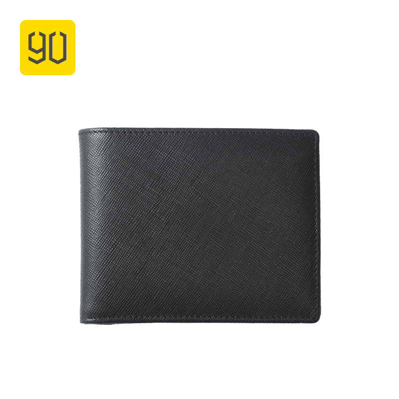 XIAOMI 90FUN Concise Business Casual Billfold Wallet Safiano Genuine Cow Leather for Men Women Card Holder Black XIAOMI 90FUN Concise Business Casual Billfold Wallet Safiano Genuine Cow Leather for Men Women Card Holder Black
