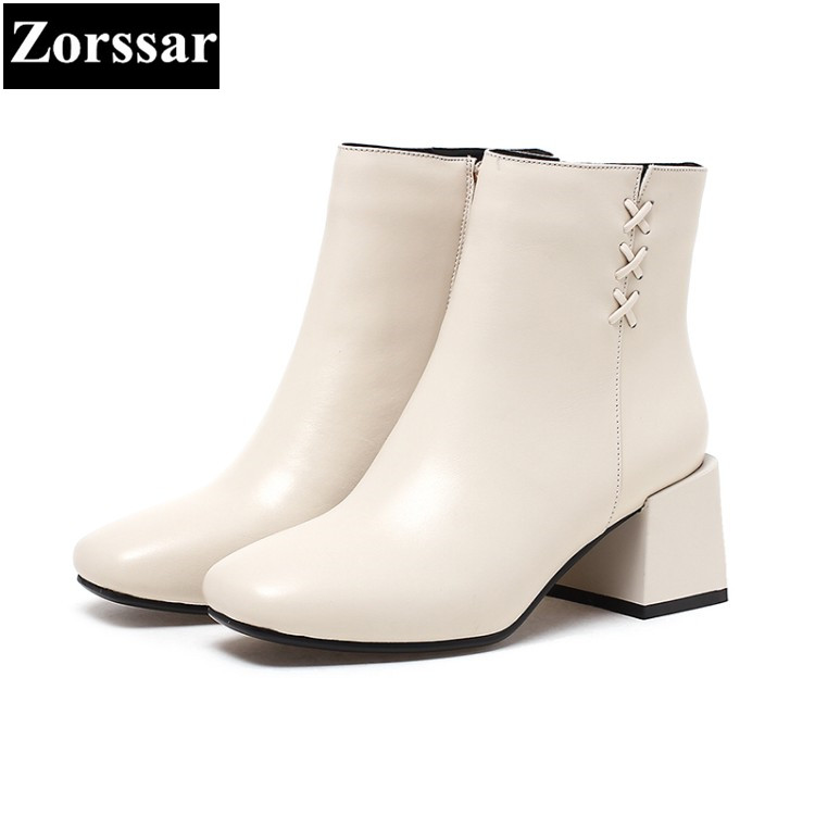 {Zorssar}NEW arrival fashion High heels Women Chelsea Boots Square toe thick heel ankle Riding boots autumn winter female shoes fringe wedges thick heels bow knot casual shoes new arrival round toe fashion high heels boots 20170119