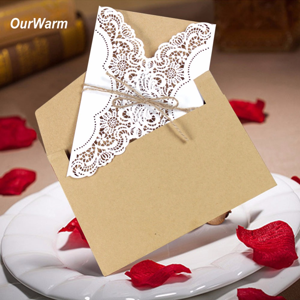 10pcs Laser Cut Wedding Invitations Elegant Wedding Invitations Cards Greeting Card Free Envelope & Seals Event Party Supplies 50pcs gold red laser cut hollow flower marriage wedding invitation cards 3d card greeting cards postcard event party supplies