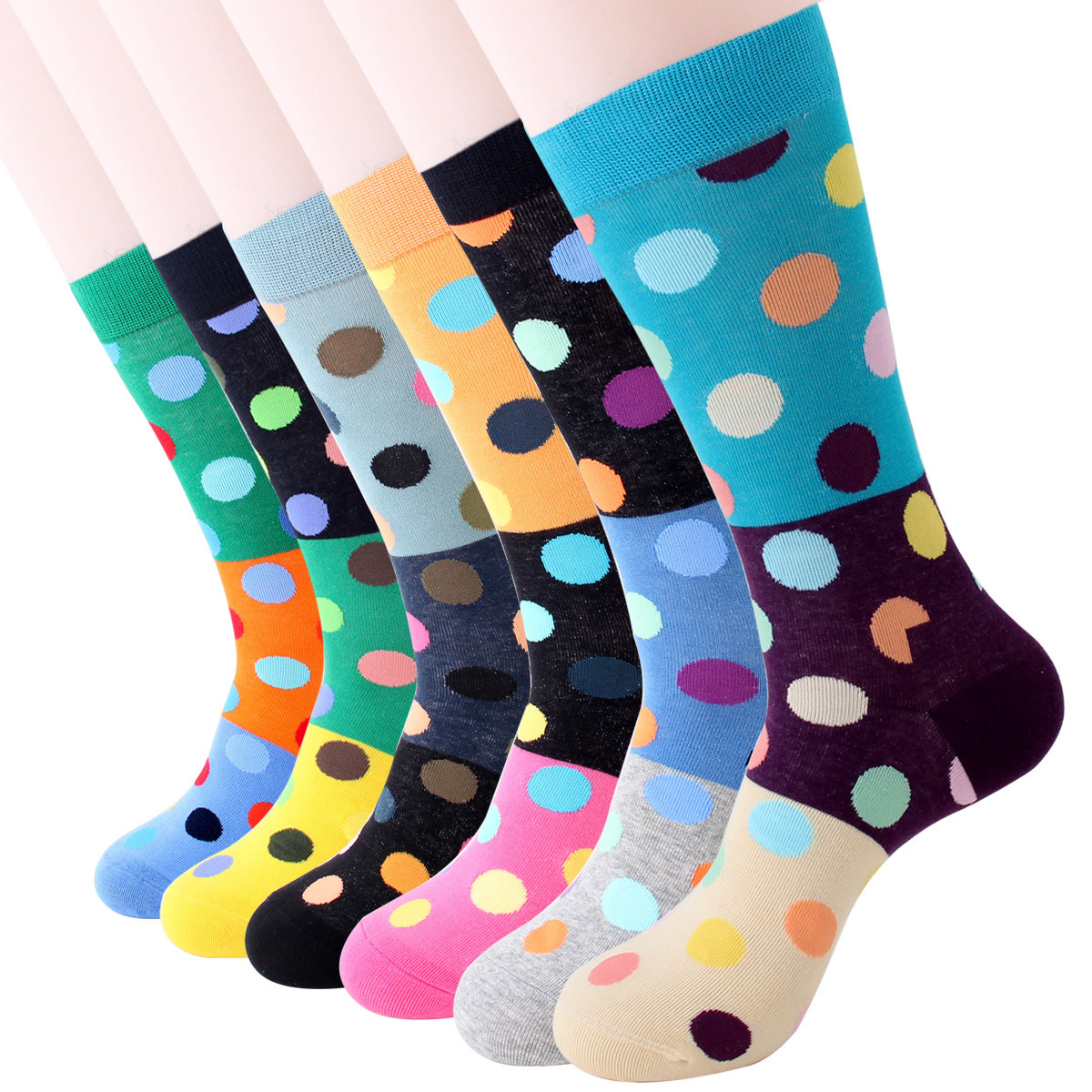 PEONFLY 2020 Fashion Colorful Dot Cotton Men Happy Socks Personality Tide Brand Harajuku Casual Funny Socks Casual Meias