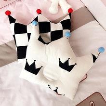 Cotton Baby Pillow Cartoon Crown with Pompom Newborn Infant Pillow Head Protection Baby Anti Roll Cushion Bedding Decor(China)