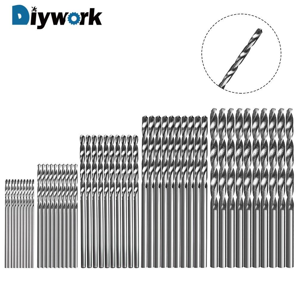 DIYWORK Power Tool Accessories Titanium Coated Drill HSS 4241 1/1.5/2/2.5/3mm High Speed Steel Drill Bits 50 Pcs