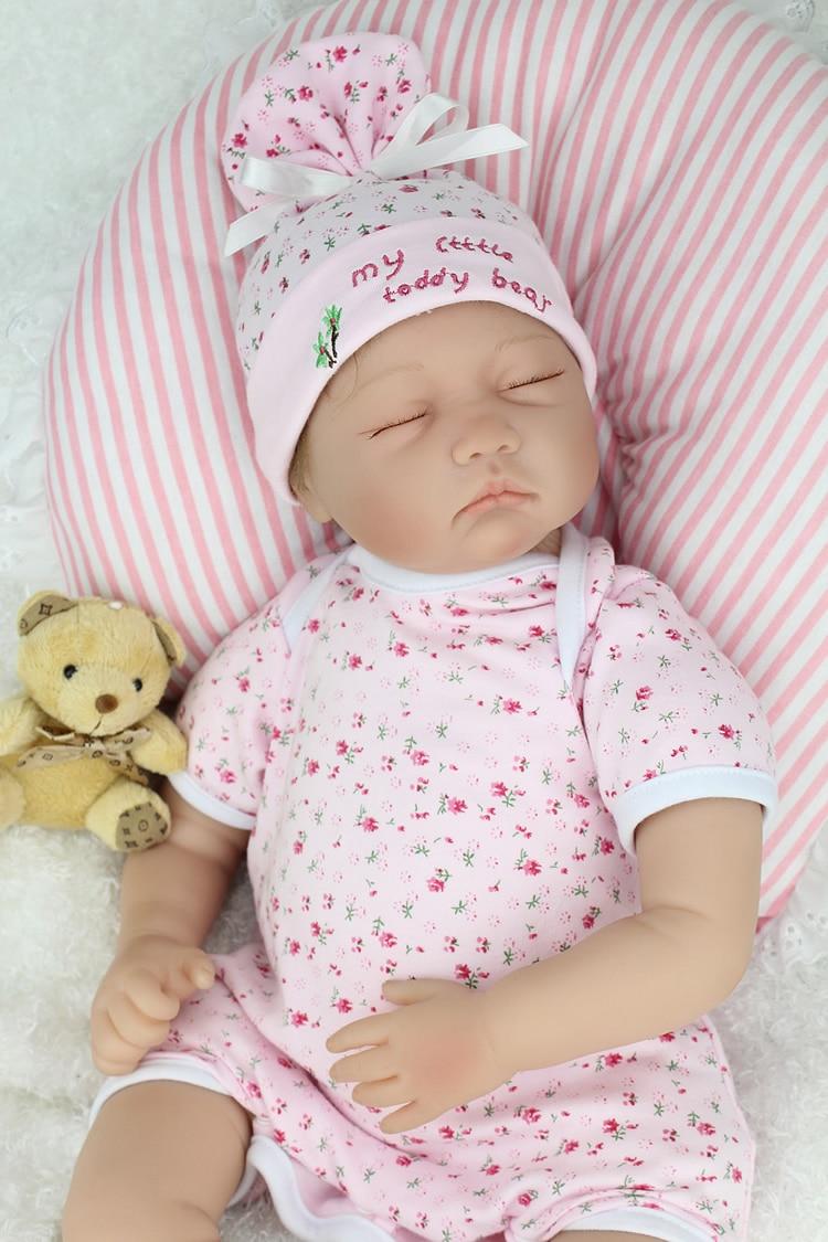 55 cm/22 pouces Silicone Reborn Bébé Poupées Bébés Endormis Réel Vinyle Reborn Bebe Jouets Pour Filles Cadeaux Brinquedos Reborn Bonecas