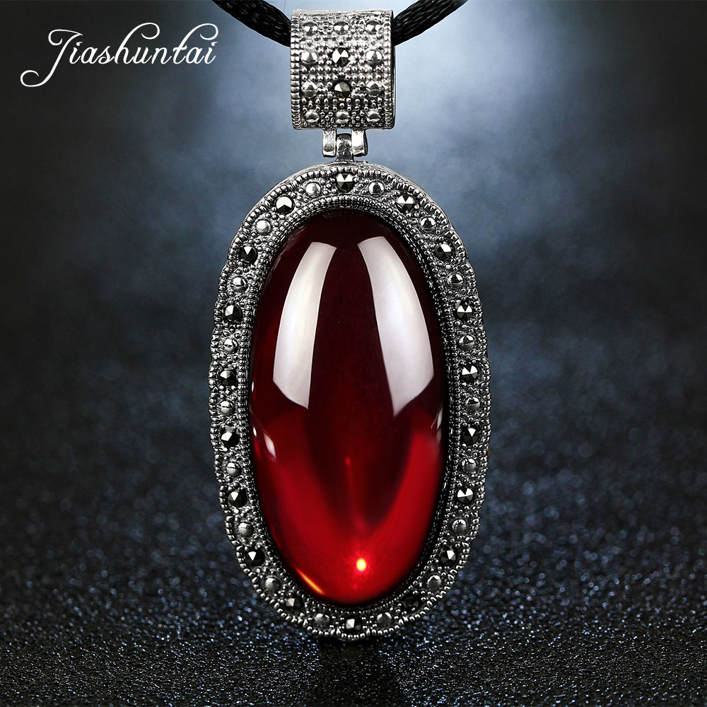 JIASHUNTAI Retro 100% 925 Silver Sterling Royal Natural Semi-Precious Stones Pendant Necklace Jewelry For Women Vintage 2017 new s925 silver coins necklace natural semi precious stones lapis lazuli retro ethnic style tassel pendant women jewelry