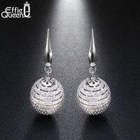 Effie Queen 100 Real S925 Silver Ball Dangle Earrings For Women 925 Sterling Silver Drop Earring