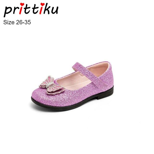 Autumn 2018 Girls Glitter PU Fashion Princess Flats Toddler Little Big Kid  Mary Jane Children Rhinestone Butterfly Dress Shoes bddd52f406f5