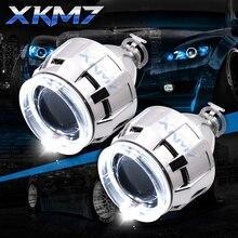 Обновленный HID проектор Объектив Биксеноновая фара светодиодный ангельские глазки Halo H1 H4 H7 2,5 дюймов автомобильные аксессуары комплект модифицированных ходовых огней