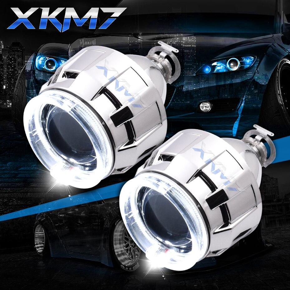 Actualización HID lente del proyector Bixenon faro LED Ojos de Ángel Halo H1 H4 H7 2,5 pulgadas accesorios de coche Kit de luces de marcha Retrofit