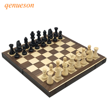 Neue Hochwertige bücher form holz klappbrett solide schachmann Box holztisch schach Set Natürliche sichere Farbe Brettspiel qenueson