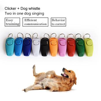 Gorąca wyprzedaż! Combo Dog Clicker amp Whistle-Training urządzenie do tresury zwierząt domowych kliknij Puppy z przewodnikiem z breloczkiem najlepsza cena tanie i dobre opinie Szkolenia Clickers 117754 Z tworzywa sztucznego