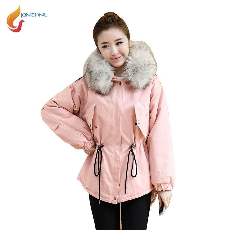 JQNZHNL 2017 New Winter Parkas Women Big Fur Hooded Thicken Down Cotton Coats Fashion Women Casual Cotton Jackets Outerwear L745 olgitum 2017 women vest jackets new fashion thickening solid casual cotton fashion hooded outerwear