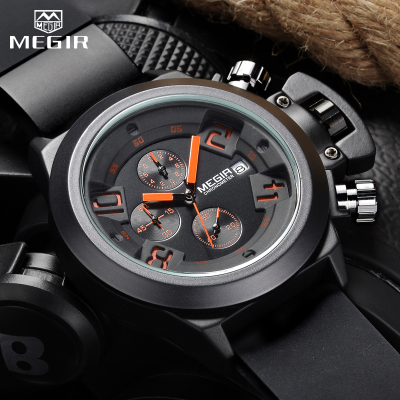 MEGIR 3D Engraved Dial Clocks Male Sport Quartz Men Watches Black Silicone Waterproof Military Chronograph Watch Reloj HombreMEGIR 3D Engraved Dial Clocks Male Sport Quartz Men Watches Black Silicone Waterproof Military Chronograph Watch Reloj Hombre