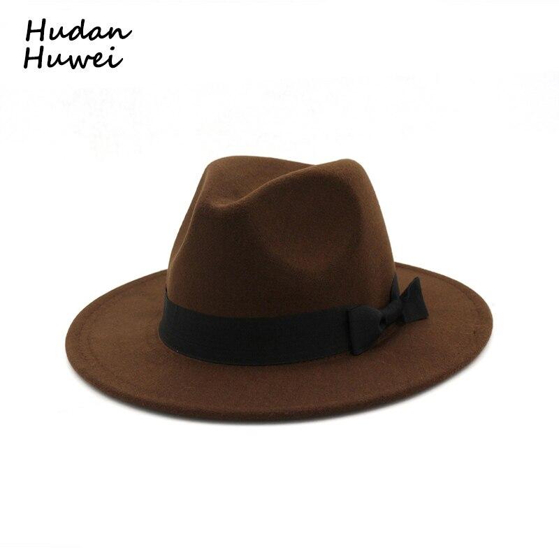 Vintage plat bord jazz feutre feutrés chapeaux avec Bowknot bande panama Trilby formelle chapeau coiffures pour hommes femmes unisexe