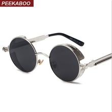 Peekaboo High quality retro women round sunglasses steampunk metal frame vintage round sun glasses male female mirror uv400