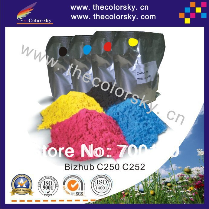 (TPKM-c250-2) color copier laser toner powder for Konica Minolta Bizhub C 250 252 300 352 1kg/bag/color in foil bag free Fedex