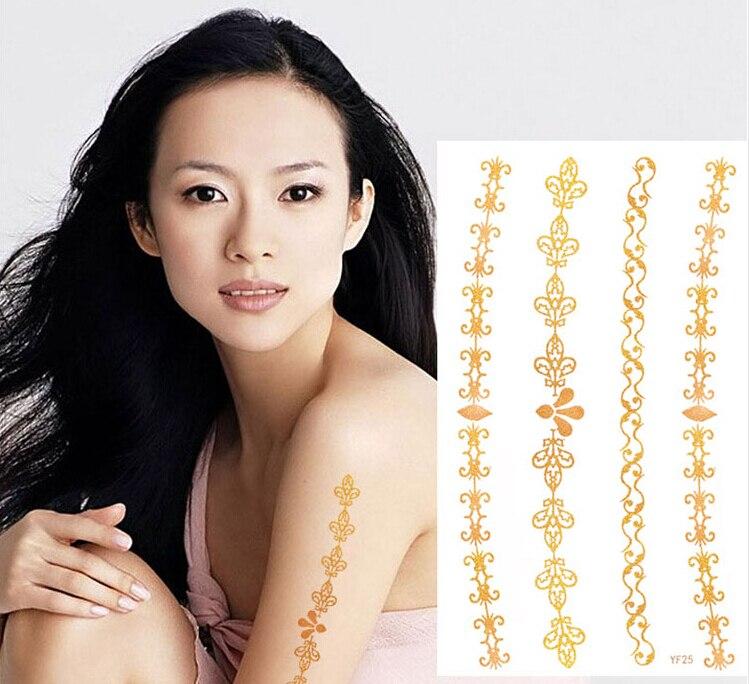 Tattoo & Body Art Beauty & Health 2pcs Women Body Art Fashion Jewelry Fake Arm Chain Temporary Tattoo Glitter Sliver Gold Tattoo Sticker Flash Tatuagem Temporaria