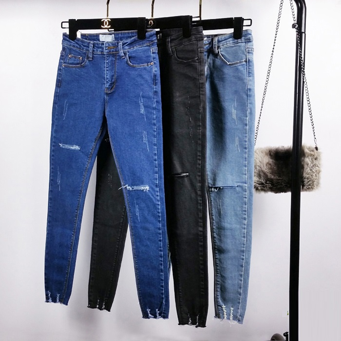 New Summer High Waist Skinny Jeans Female Pencil Pants Boyfriend hole ripped jeans Cool denim Women Jeans new 2017 boyfriend hole ripped jeans women pants cool denim vintage skinny pencil jeans high waist casual pants female p45