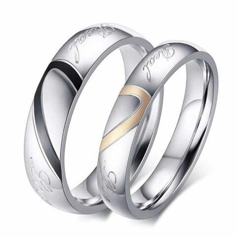 Factory Price Silver Color Couple Ring Quality Stainless Steel Heart Alliance Ring For Women Men Full Size 4-11 gift for lover