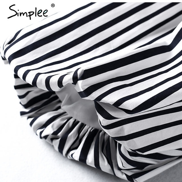 Simplee Casual off shoulder striped blouse shirt Sexy halter lantern sleeve blouse women tops 2017 cool blusas