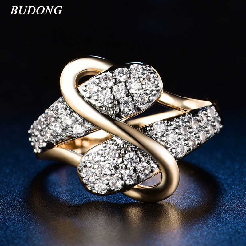 BUDONG Vintage Luxury Wedding Rings For Women Gold-color Jewelry Accessories Noble Celebrities Evening Party Rings XUR597