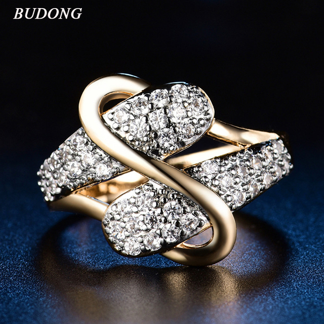 BUDONG Vintage Luxury Wedding Rings For Women Gold color Jewelry