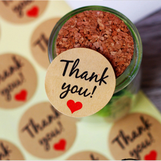 60 pcs kraft paper thank you stickers gift tags christmas